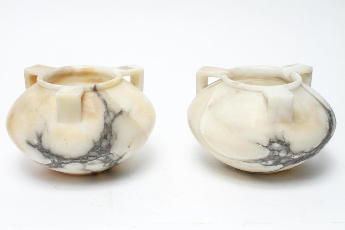 Alabaster Jardinieres / Vases with 3 Handles, Pair