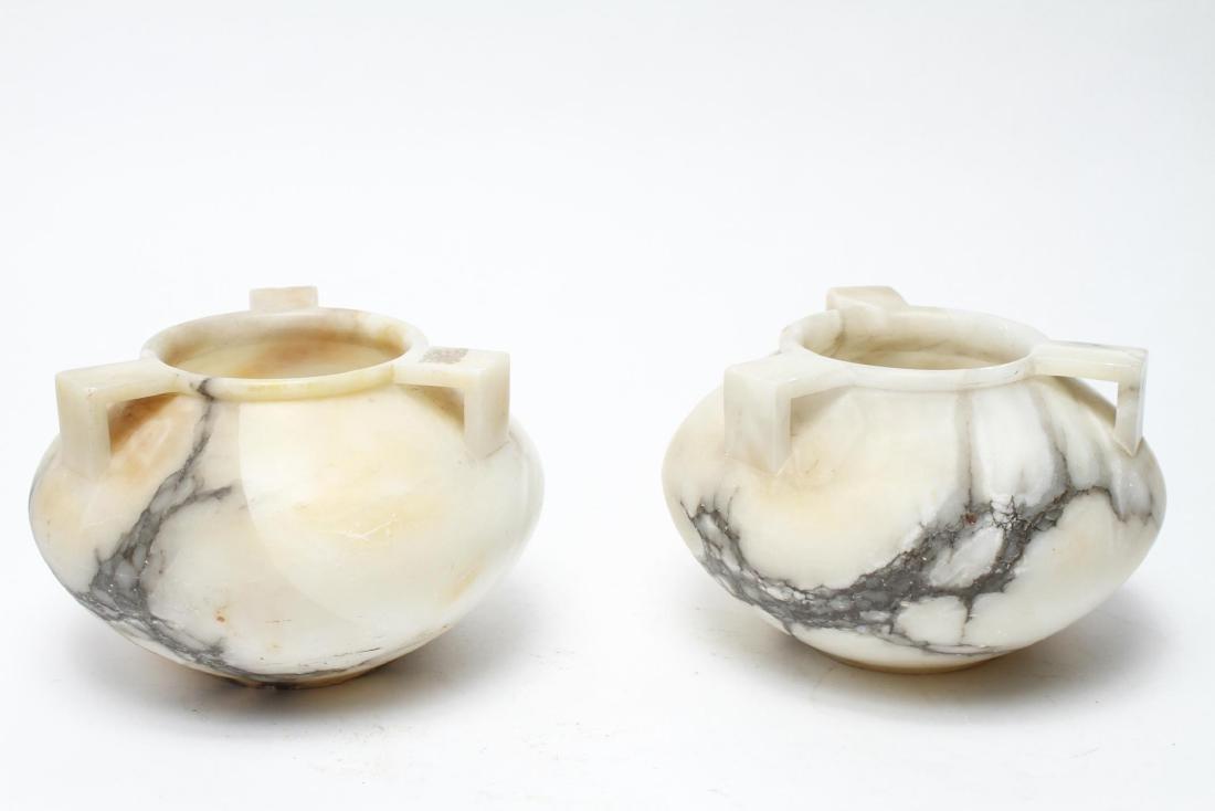 Alabaster Jardinieres / Vases with 3 Handles, Pair - 2