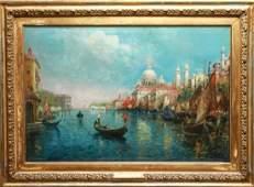 A Rodetti Venetian Canal Scene Oil on Canvas