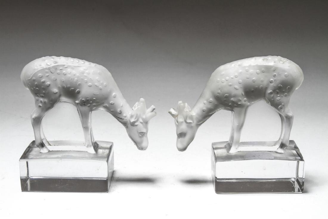 """Lalique Crystal """"Deer"""" Figurines, Pair"""