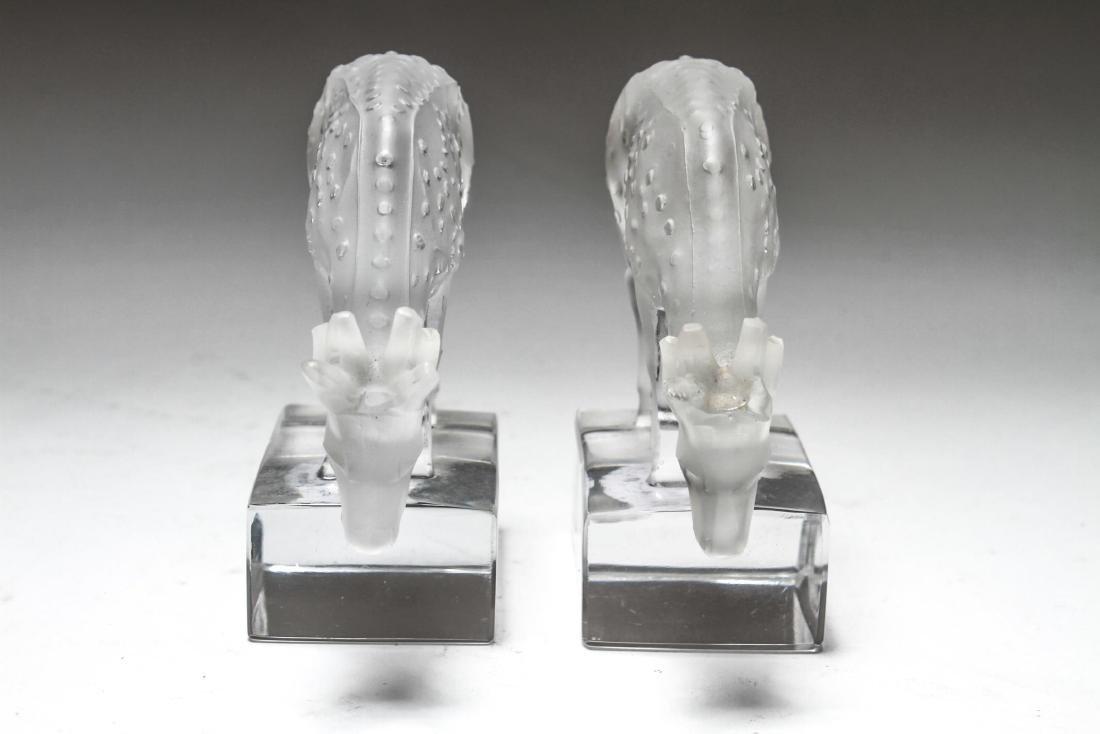 """Lalique Crystal """"Deer"""" Figurines, Pair - 2"""