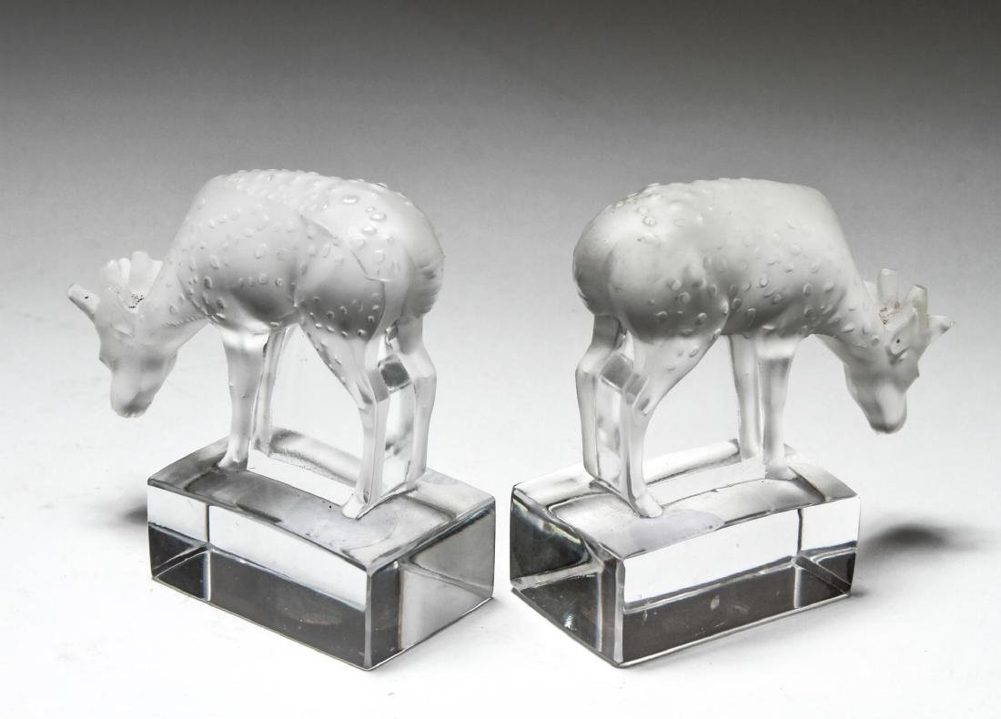 """Lalique Crystal """"Deer"""" Figurines, Pair - 3"""