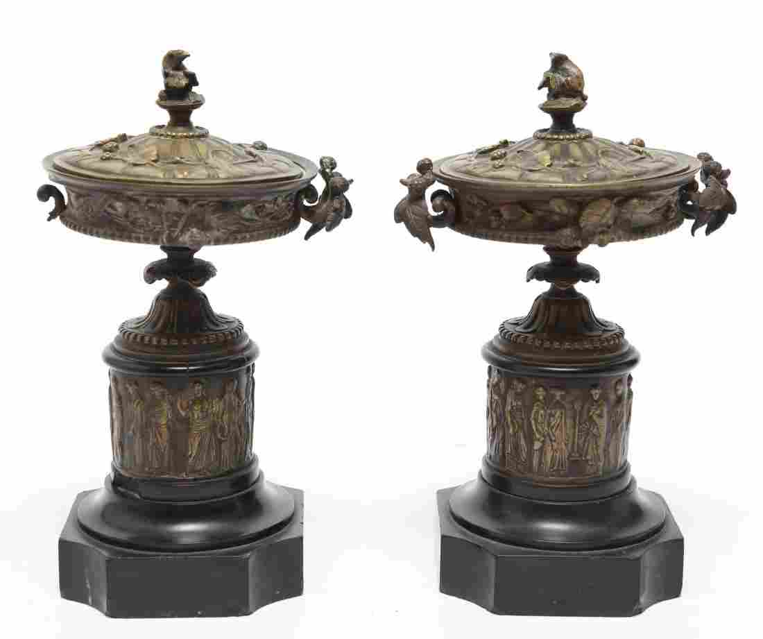 Neoclassical Bronze Covered Tazza Urns on Plinths