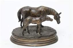 Pierre Jules Mene after Mare  Foal  Bronze
