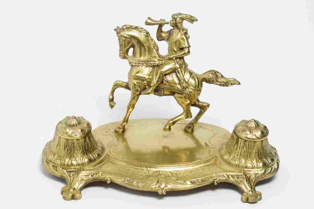 Aesthetic Movement Brass Inkwell Equestrian Figure
