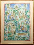 Tibetan Thangka Buddhas & Tara Gouache on Textile