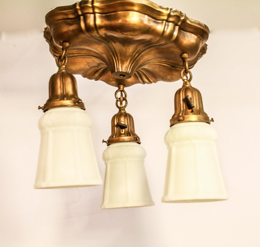 Ceiling Fixture Gilt-Metal 3 Light Glass Shades