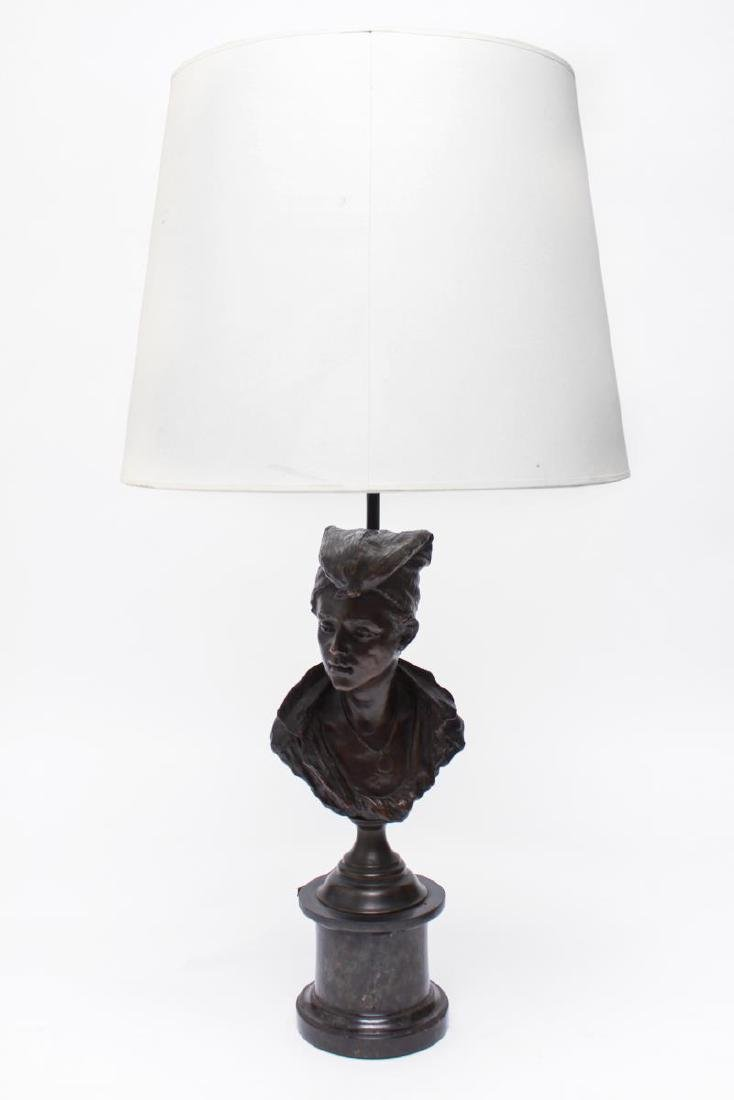 Bronze Figural Bust Lamp of Woman in Kerchief