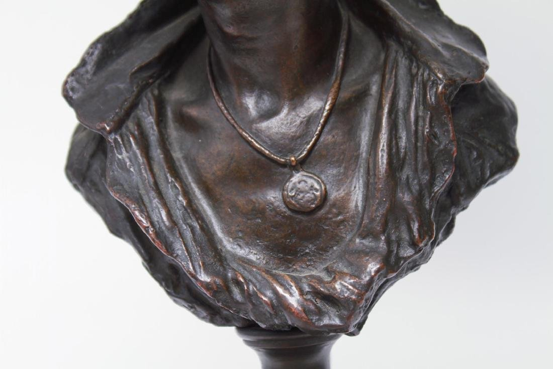 Bronze Figural Bust Lamp of Woman in Kerchief - 2