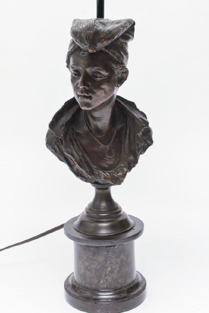 Bronze Figural Bust Lamp of Woman in Kerchief - 6