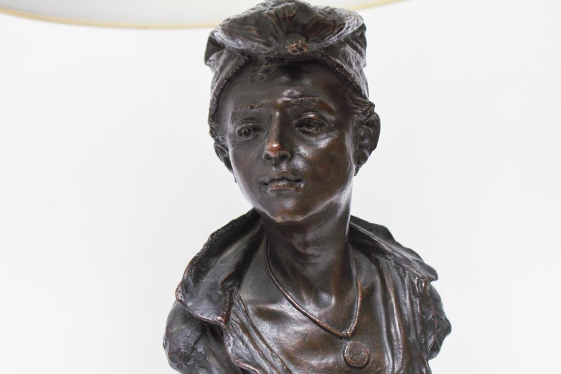 Bronze Figural Bust Lamp of Woman in Kerchief - 7