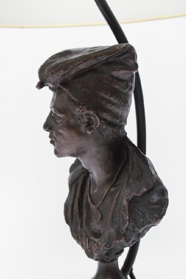 Bronze Figural Bust Lamp of Woman in Kerchief - 8
