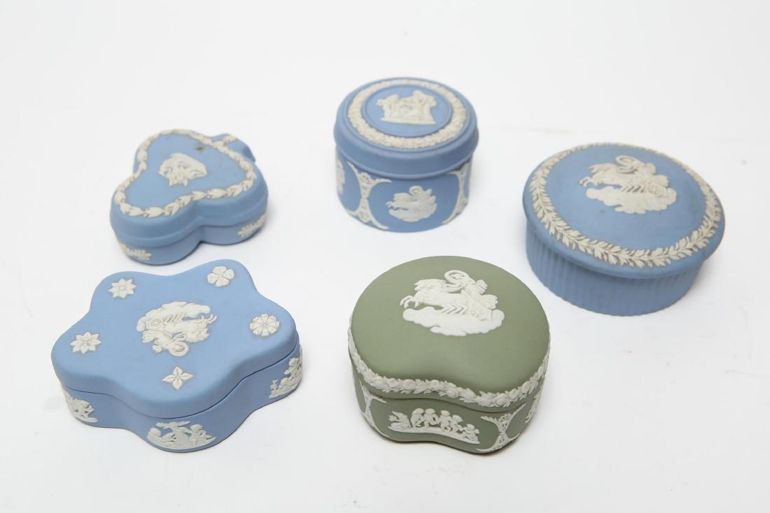 Wedgwood Green / Blue & White Jasperware Boxes, 5