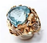 18K Gold & Aquamarine Ring w 20 Diamonds
