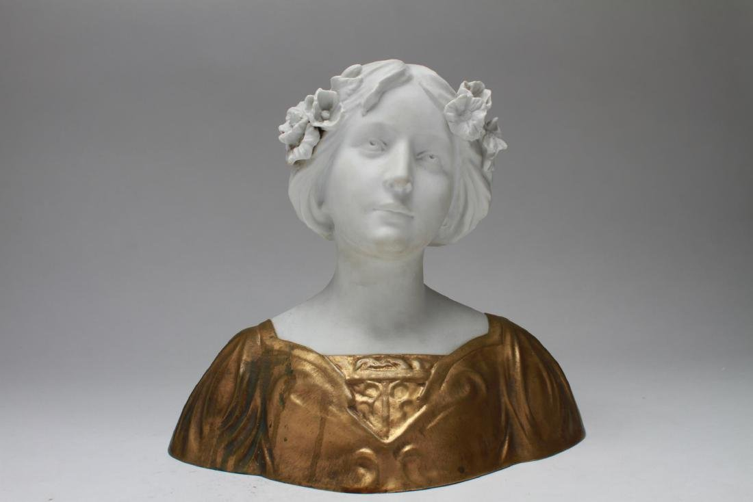 D. Alonzo Art Nouveau Bisque & Gilt Bronze Bust
