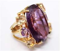 Gold Tone Amethyst  Citrine Large Cocktail Ring