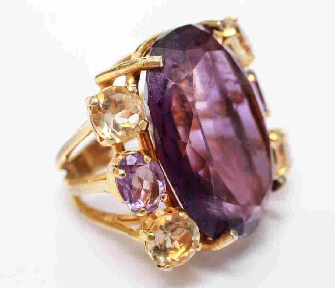 Gold Tone Amethyst & Citrine Large Cocktail Ring