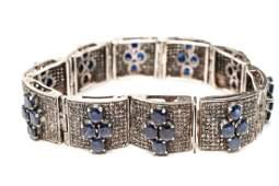 Sapphires Diamonds & Silver Hinged Bracelet