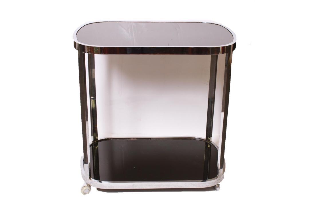 Art Deco Chrome and Black Glass Bar Cart