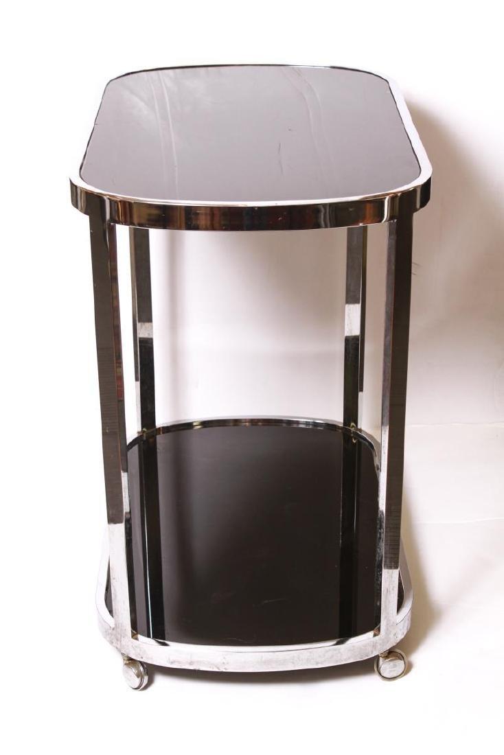 Art Deco Chrome and Black Glass Bar Cart - 2