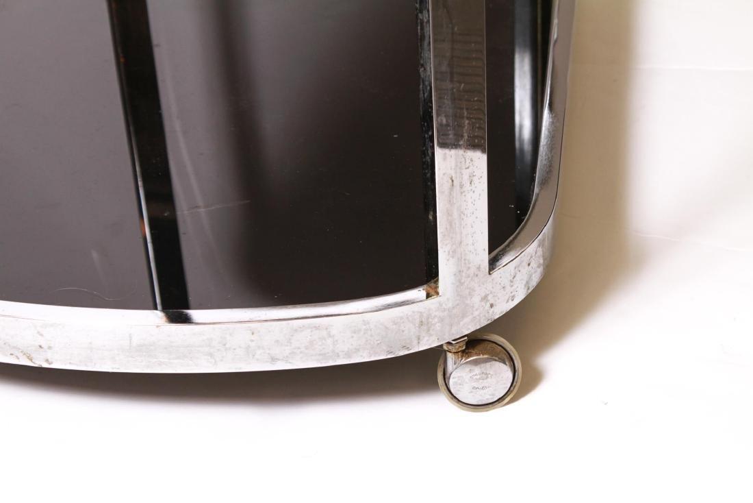 Art Deco Chrome and Black Glass Bar Cart - 3