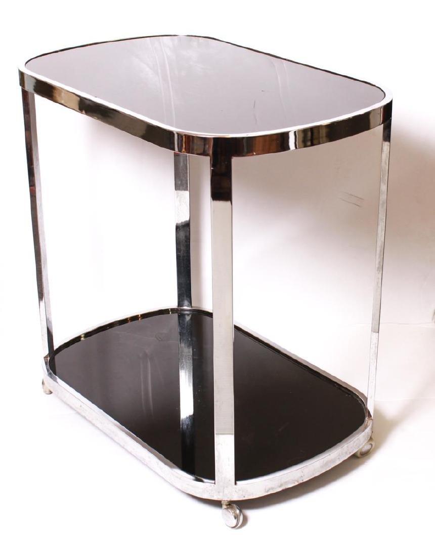 Art Deco Chrome and Black Glass Bar Cart - 5