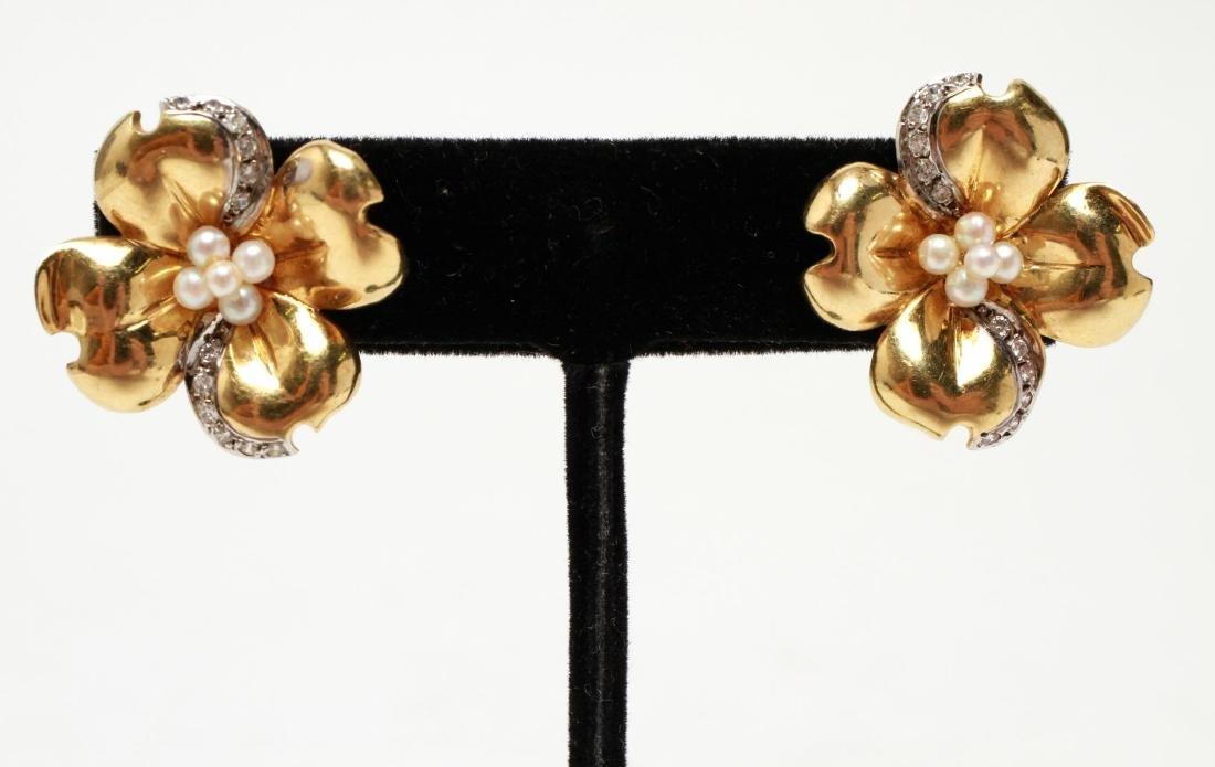 "14K Gold Diamond & Pearl ""Dogwood"" Floral Earrings"