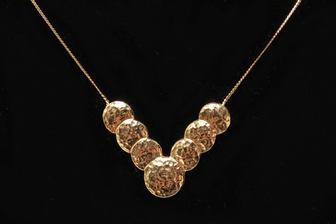 14K Gold V-Form Chevron Discs Pendant Necklace