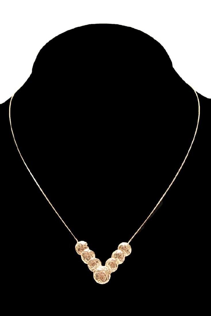 14K Gold V-Form Chevron Discs Pendant Necklace - 2