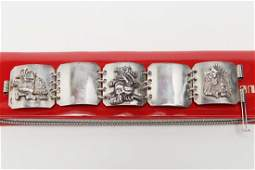 Vintage Mexican Silver Bracelet, with Aztec Motifs
