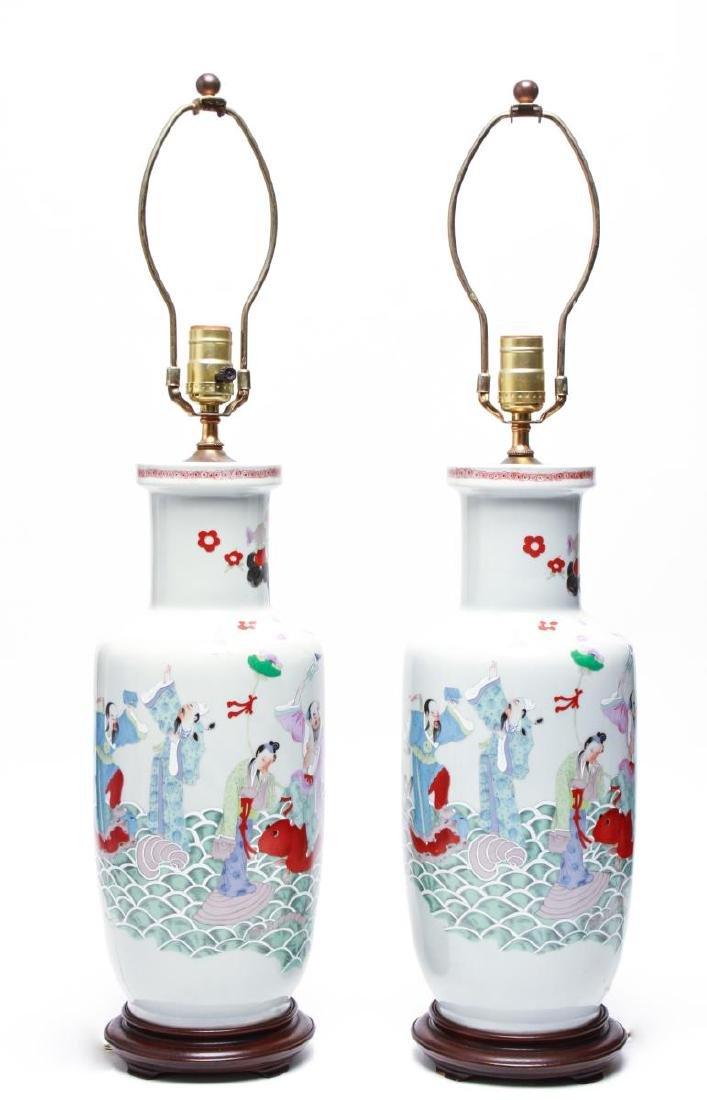 """Asian """"Eight Immortals"""" Porcelain Vase Lamps, Pr"""