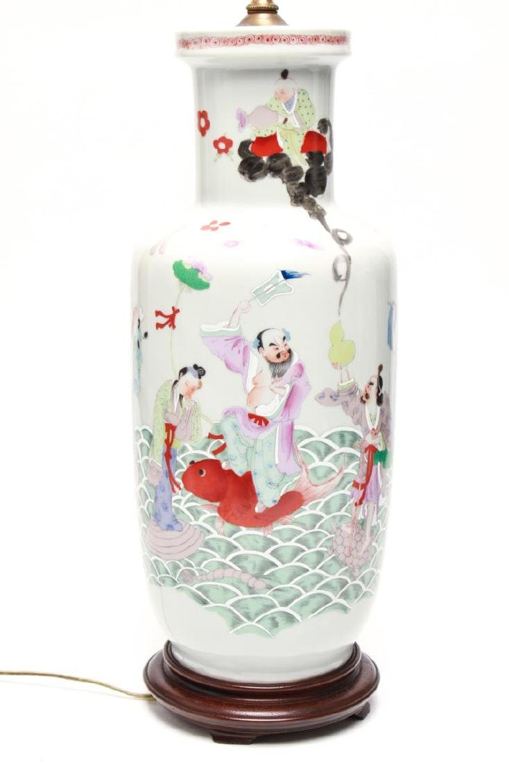 """Asian """"Eight Immortals"""" Porcelain Vase Lamps, Pr - 2"""
