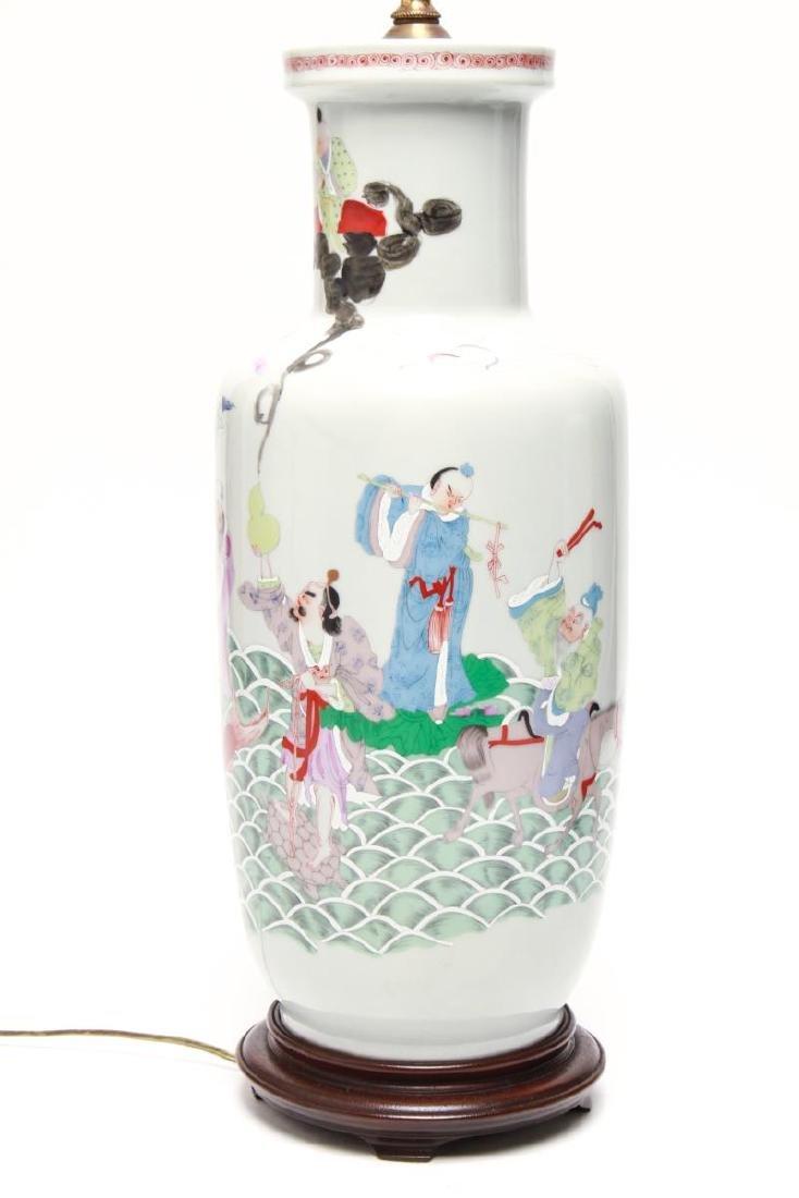 """Asian """"Eight Immortals"""" Porcelain Vase Lamps, Pr - 3"""