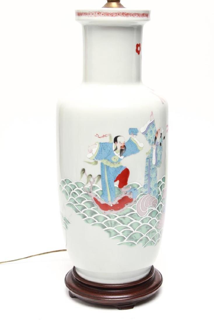 """Asian """"Eight Immortals"""" Porcelain Vase Lamps, Pr - 4"""