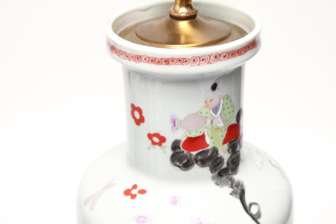 """Asian """"Eight Immortals"""" Porcelain Vase Lamps, Pr - 7"""