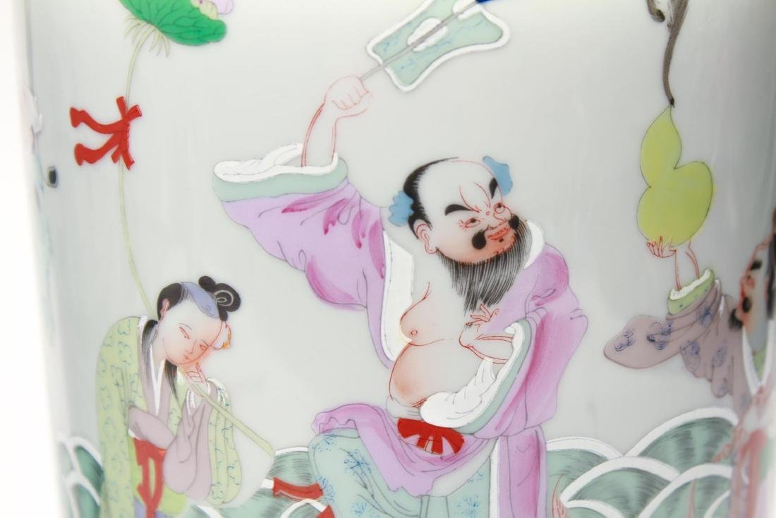"""Asian """"Eight Immortals"""" Porcelain Vase Lamps, Pr - 8"""