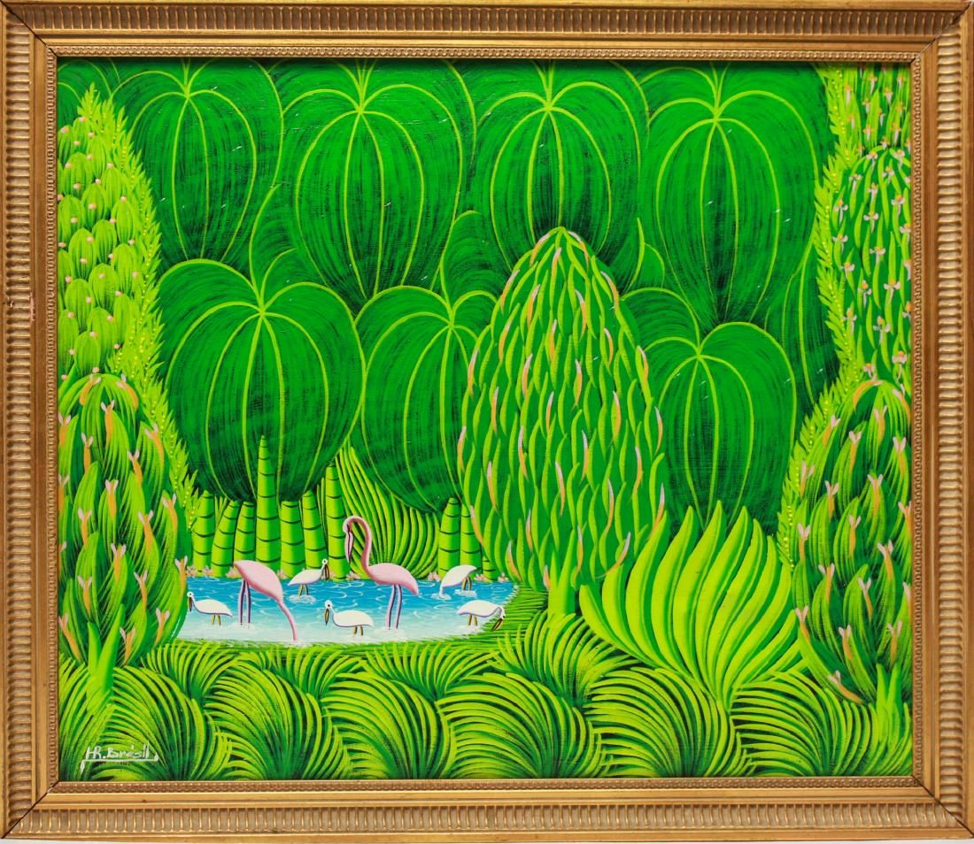 H. R. Bresil Haitian, Landcape w Flamingos Acrylic
