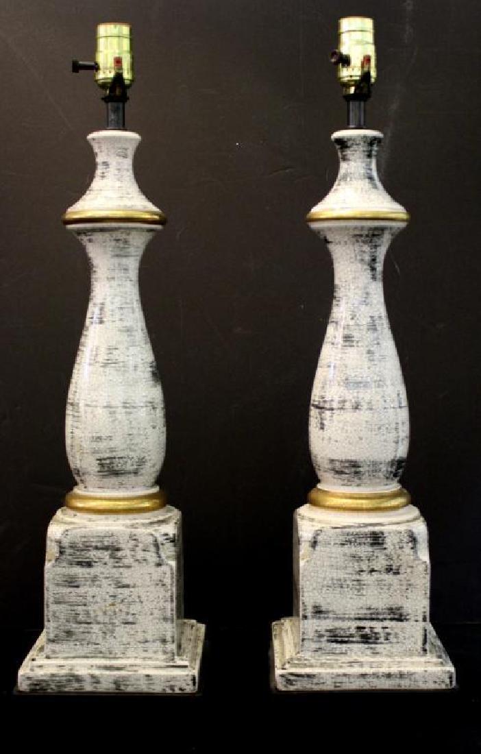 Porcelain Faux Bois Glazed Table Lamps Pair