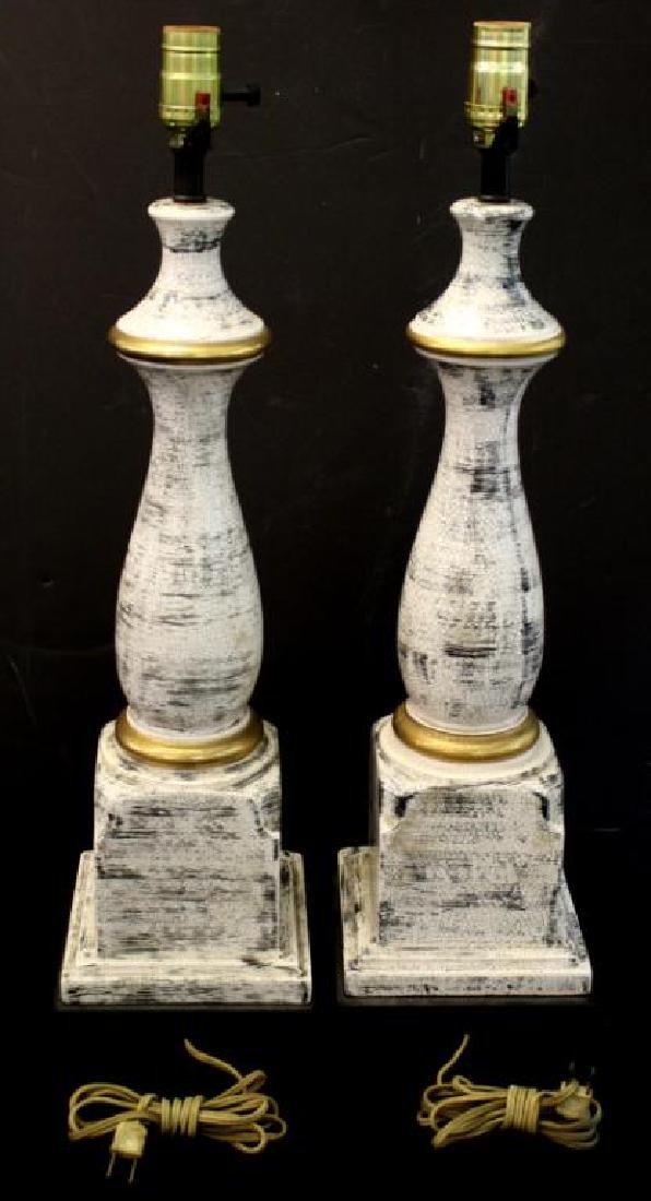 Porcelain Faux Bois Glazed Table Lamps Pair - 3