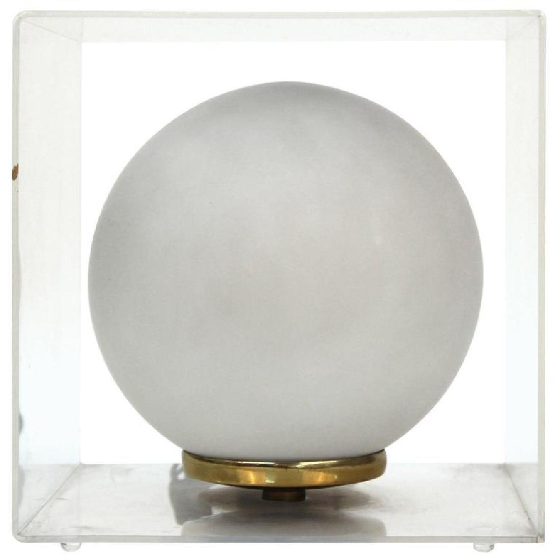 Round Encased Mid-Century Modern Table Lamp