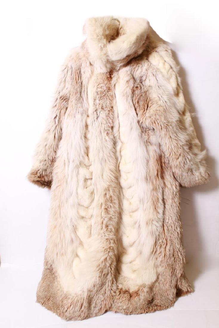 Long Blonde Fur Coat w Silk Interior