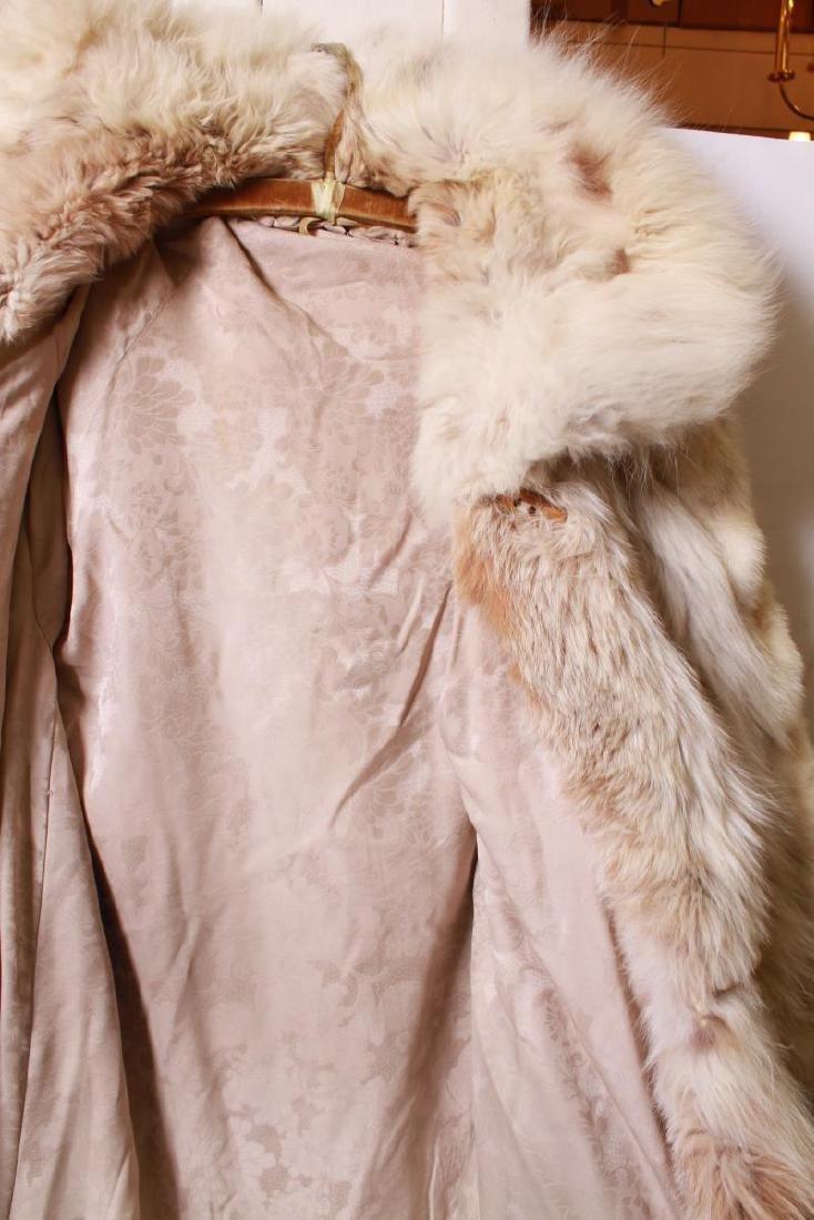 Long Blonde Fur Coat w Silk Interior - 3