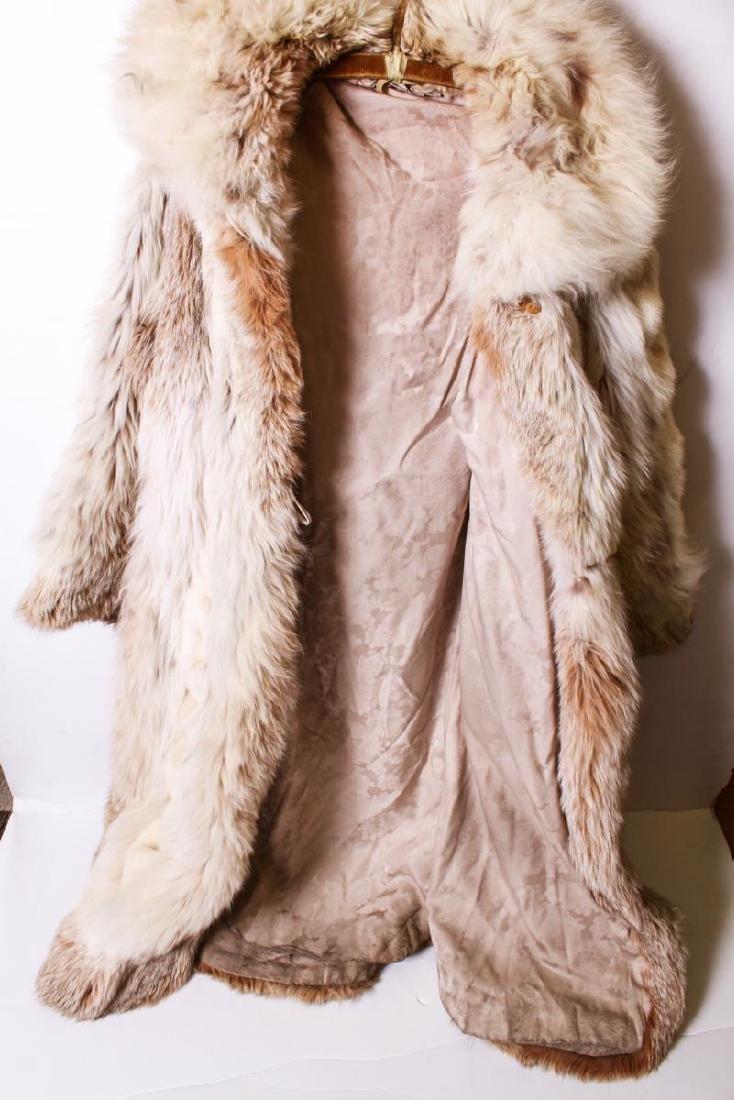 Long Blonde Fur Coat w Silk Interior - 5