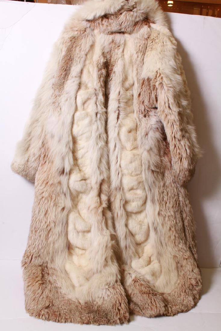 Long Blonde Fur Coat w Silk Interior - 7