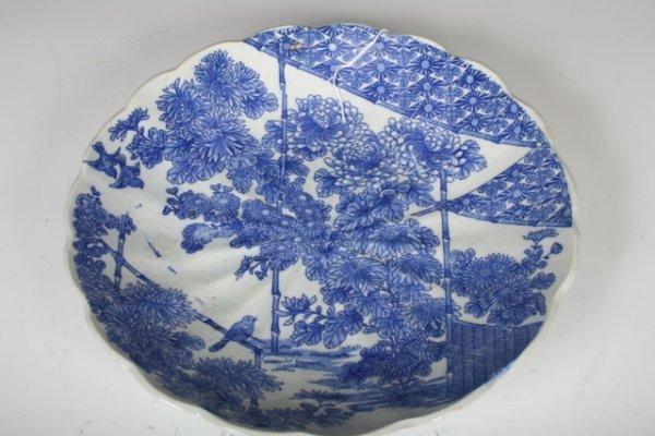 1: 18-19th C Japanese Blue & White Ceramic Platter