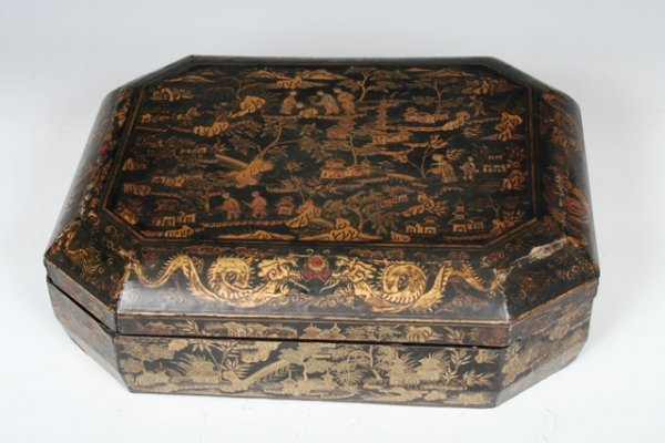 12: A 19th C Chinese Gilt Lacquer Game Box