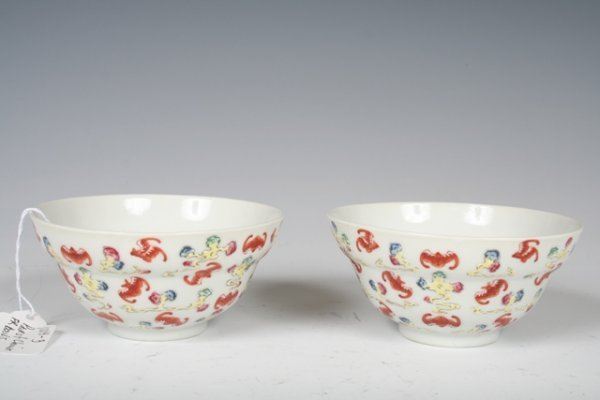 13: Pair 19th C Chinese Famille Rose Porcelain Bowls