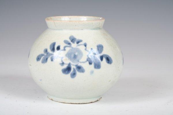 16: 18th C Signed Korean Blue & White Vase