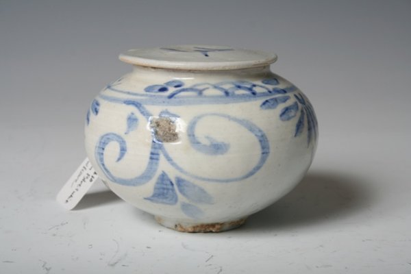 17: 19th C Korean Blue & White Ceramic Jar with Cover