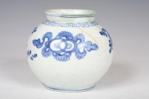 18: 18th C Korean Blue & White Ceramic Vase